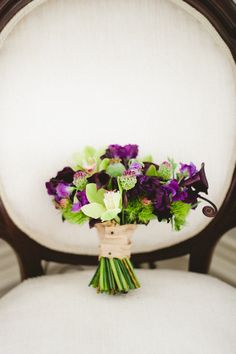 Purple + Green wedding Bouquet | Photography: Judy Pak