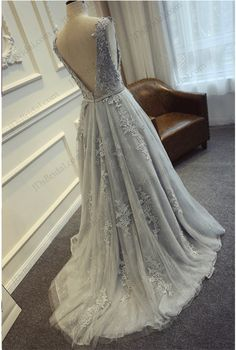 Gray round neck tulle lace long prom dress, bridesmaid dress, Customized service and Rush order are available Blue Wedding Dresses, A Line Prom Dresses, Evening Dresses, Bridesmaid Dresses, Formal Dresses, Dress Prom, Light Blue Wedding Dress, Tulle Wedding, Formal Prom