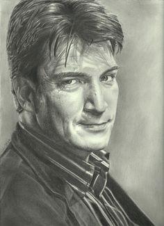 Nathan Fillion as Rick Castle {tv series Castle} ~ pencil portrait by John DiBiase