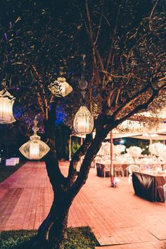 Elegance meets whimsy with these lanterns hanging from a tree | Image by DS Visuals Weddings