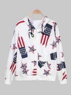 Stars and Stripes Cotton Sport Suit Hooded Set Hoods, Rain Jacket, Windbreaker, Stripes, Suits, Blouse, Cotton, Track, Jackets