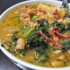 Caldo Gallego (Spanish White Bean Soup) Caldo Gallego (Collard Green Soup) Cannelli Beans, Ham Hocks, Chorizo, Potatoes, Collard Greens (or use turnip greens w/turnips). Spanish Soup, Spanish Dishes, Spanish Beans, Spanish Bean Soup Recipe, Spanish Cuisine, Spanish Tapas, Comida Latina, White Bean Soup, White Beans
