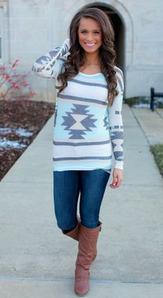 The Pink Lily Boutique - Always Aztec Blouse, $32.00 (http://thepinklilyboutique.com/always-aztec-blouse/)