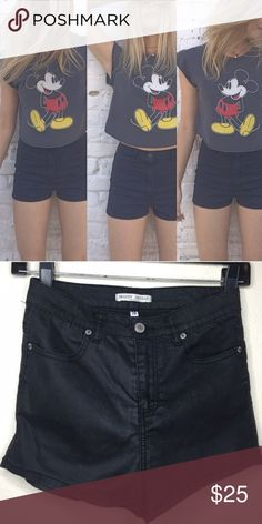 Brandy Melville high waisted shorts, black Brandy high waisted black shorts. Material is a thin leather like material with a little shine to them. Size 28 but fits more like a 25-26. Lightly worn, in perfect condition! Brandy Melville Shorts Jean Shorts