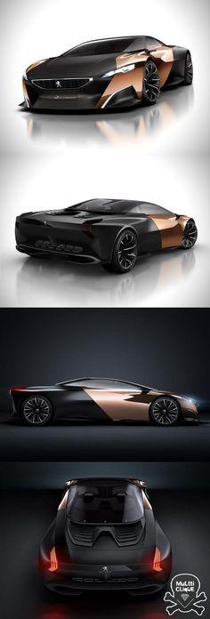 Peugeot Onyx.  Contraste entre peinture grise matte et le cuivre.