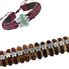"New!12pcs Alloy ""WITH U"" Design Genuine Black Leather &Mixcolor Hemp Bracelets #cheapfine #fashion"