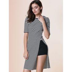 Chic Women's Round Neck Short Sleeve Striped Furcal Dress