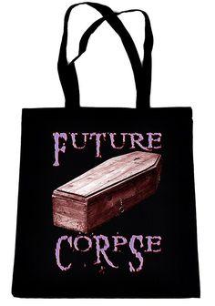 Future Corpse w/ Coffin on Black Tote Book Bag Gothic Deathrock Handbag