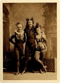 Victorian stage performers, Frank, Charles, and Marie Majilton, ca. 1871 Would love to have some of these framed throughout the house! Vintage Pictures, Old Pictures, Vintage Images, Weird Old Photos, Belle Epoque, Victorian Photography, Circo Vintage, Victorian Photos, Victorian Era