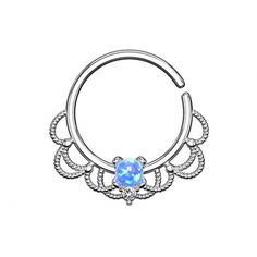 Septum Ring silber filigran mit Opal blau aus Messing in Materialstärke 1.2 mm Septum Ring, Messing, Piercing, Turquoise Necklace, Opal, Sapphire, Rings, Jewelry, Jewlery