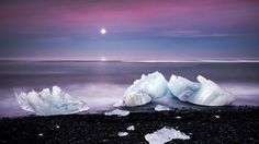 Icebergs Black Beach Moon Sea High Quality Wallpaper