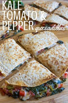 Kale, Tomato, and Pepper Quesadillas  - Healthy #Vegan Dinner / Lunch Recipes - #plantbased #cleaneating