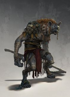 Gnoll / Dungeons And Dragons. Concept art by Conceptopolis. Dark Fantasy, Fantasy Rpg, Monster Design, Monster Art, Dnd Characters, Fantasy Characters, Dungeons And Dragons, Fantasy Races, Creature Concept