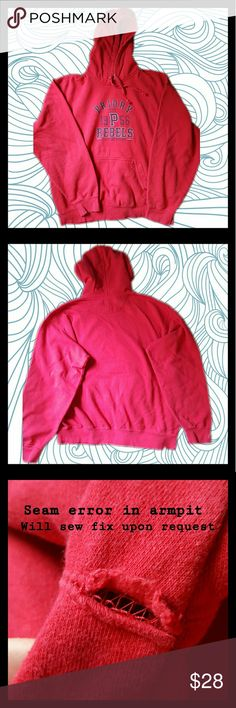 """Priory Hoodie Red hoodie spirit wear for the Priory Rebels (all boys Catholic High school in Saint Louis). Worn twice and in almost perfect condition!   Has a sewing error in the seam of one of the armpits (came this way). I am willing to fix it for FREE upon request!  MEASUREMENTS Length 25"""". Bust 52"""". Waist 52"""". Stretch capacity of about 1"""".   Thank you for your interest please feel free to like, share, comment, and make an offer :) Don't forget to check out my other listings! Priory…"""