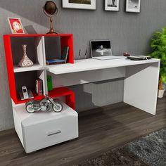 Dekorister | Online Mobilya Alışverişi ~ Bloom Çalışma Masası Beyaz-Kırmızı