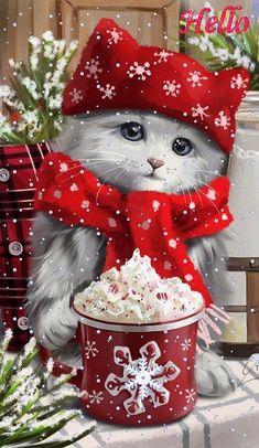 Selamat hari natal dari kami keluarga H Gultom Merry Christmas Gif, Christmas Scenery, Christmas Kitten, Christmas Animals, Vintage Christmas Cards, Christmas Images, Christmas Wishes, Christmas Greetings, Winter Christmas