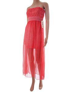 Dlhé letné šaty Bellina oranžové bez ramienok  Dlhé jemné priesvitné letné plážové šaty s krátkou spodničkou a dlhým tylom. Šaty majú čipkovaný hrudník a hrubším pásom pod prsiami.  http://www.yolo.sk/saty/dlhe-letne-saty-bellina-oranzove-bez-ramienok