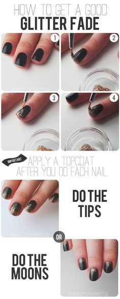 1. Start with any polish color you want. We used black so you could really see how it's done. Let it dry really well. You can even put a thin topcoat over it if you want so it doesn't smudge when you add the glitter.  2. Using your dense glitter polish and a super-thin art brush, lay down a line of glitter polish at the tip of the nail. (Or you can do the moons if you'd rather.)  3. Using the thinnest art brush you can find, drag the glitter polish out carefully. You don't need to drag too…