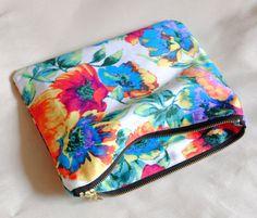 Make Up Bag - Large Cosmetic Bag - Floral Makeup Bag - Large Make Up Bag - Knitting Project Bag - Large Pencil Case - Cute Makeup Bags - Canvas Pouch - Canvas Makeup Bag - Large Toiletry Bag