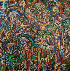 Swiss Artist Painter | Painted by Cathy Butuza #outsiderart #artbrut #art #artist #facesart ##acrylic #painting