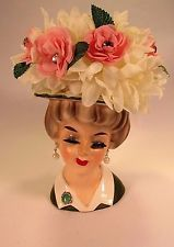 Vintage Lady Head Vase  Pearl Earrings and Flower Hat  Large SWAROVSKI Crystals