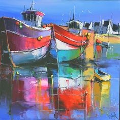 Eric Le Pape En rouge et mauve cm Colorful Paintings, Beautiful Paintings, Mediterranean Paintings, Boat Art, Boat Painting, Ship Art, Landscape Art, Art Images, Watercolor Paintings