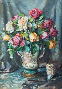 TEODOR GROTT (1884 - 1972)  KWIATY W WAZONIE   tech. mieszana, tektura / 68,5 x 48,5 cm