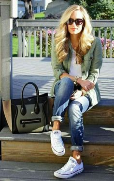 keep it casual with white tee, cuffed jeans, and sneakers.