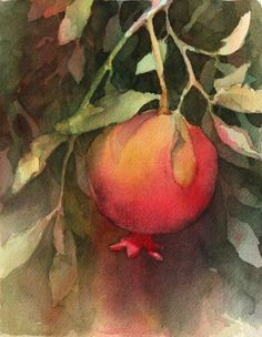 Brenda Swenson: Negative Painting with Watercolor. I love watercolors and how the translucence portrays light. Watercolor Negative Painting, Watercolor Fruit, Watercolor Flowers, Painting & Drawing, Watercolour Tutorials, Watercolor Techniques, Jewish Art, Fruit Art, Art Tutorials