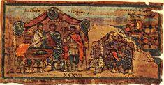 Patroclo con Néstor en su tienda. Imagen de la Ilíada ambrosiana