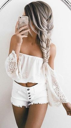 #summer #ultimate #outfits | Lace + Denim #tagforlikes #colors #hair
