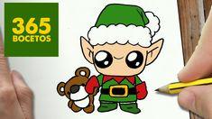 COMO DIBUJAR UN ELFO PARA NAVIDAD PASO A PASO: Dibujos kawaii navideños ...