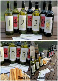cute idea for the bridal shower! A good way to get an idea of what types of wines your guests enjoy. Wine Party Appetizers, Wine Parties, Wine And Cheese Party, Wine Tasting Party, Wine Cheese, Sweet White Wine, Sweet Champagne, Bridal Shower Wine, Different Wines