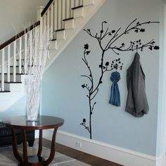 Interior designed hallway idea for storing coats using tree decals, brilliant. P… Interior designed hallway idea for storing coats using tree decals, brilliant. Wall Stickers Hallway, Hallway Wall Decor, Hallway Walls, Wall Stickers Home Decor, Hallway Decorating, Wall Decals, Coat Hooks Hallway, Kitchen Wall Stickers, Sticker Vinyl