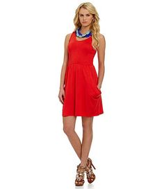 Kensie red French terry dress