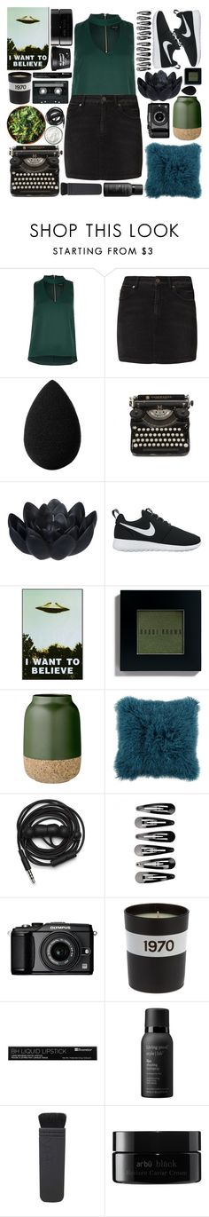 """""""THE LIGHTS ARE BRIGHT TONIGHT THE MUSIC LOUD // 5 Things Tag"""" by purplesequin16 ❤ liked on Polyvore featuring SELECTED, beautyblender, Sia, NIKE, Bobbi Brown Cosmetics, Bloomingville, Urbanears, Olympus, Bella Freud and CASSETTE"""