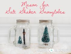 I love snowglobe crafts. In a few minutes, turn these cute Mason Jar salt and pepper shakers into Winter Snowglobes. A perfect Christmas home decor craft!