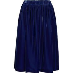 Comme des Garçons Comme des Garçons Fluted velvet midi skirt ($495) ❤ liked on Polyvore featuring skirts, navy, navy blue midi skirt, knee length pleated skirt, velvet midi skirt, blue velvet skirt and mid calf skirts