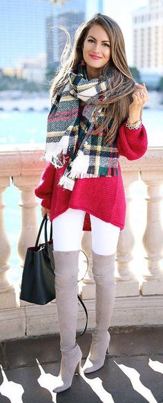 #winter #fashion / Printed Scarf / Red Knit / White Skinny Jeans / Grey OTK Boots