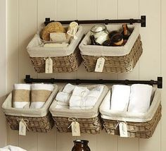 Cheap Bathroom Storage Decor - Best Small Bathroom Storage Ideas: Creative Bathroom Organization and Cute Storage Solutions Bathroom Towel Storage, Bathroom Towels, Bathroom Baskets, Bathroom Shelves, Organized Bathroom, Bathroom Mirrors, Bathroom Clocks, Ikea Towels, Bathroom Rack