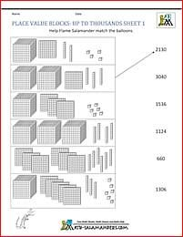 Math Worksheets Place Value Blocks Up To Thousands 1 Place Value Worksheets Place Values Place Value Blocks