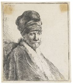 REMBRANDT HARMENSZ. VAN RIJN 1606 - 1669 BUST OF A MAN WEARING A HIGH CAP, THREE-QUARTERS RIGHT: THE ARTIST'S FATHER (?) (B., HOLL. 321; NEW HOLL. 57; H. 22) Etching and drypoint, 1630, a very fine impression of the extremely rare first state (of two), New Hollstein's second state (of six), framed plate: 105 by 88mm 4 1/8 by 3 1/2 in sheet: 108 by 93mm 4 1/4 by 3 5/8 in