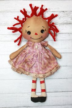 Tiny Easter Annie  Primitive Raggedy Ann Doll by HeartstringAnnie, $18.00