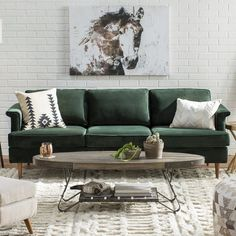 Get inspired by Living Room Design photo by Wayfair. Wayfair lets you find the designer products in the photo and get ideas from thousands of other Living Room Design photos. Living Room Trends, Boho Living Room, Cozy Living Rooms, Living Room Sofa, Living Room Designs, Living Room Decor, Green Living Room Furniture, Bohemian Living, Living Room Seating