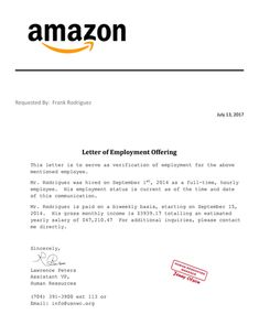 Letter Employment Verification