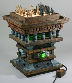 Blade Runner - Rick Ross's interpretive concept of J.F. Sebastian's chess table and chess set is an amazing work of art. It has to be the coolest Blade Runner inspired build ever! Rick took 2 years to make it. The chess pieces were sculpted from scratch by Rick based on HD screen captures of the film.