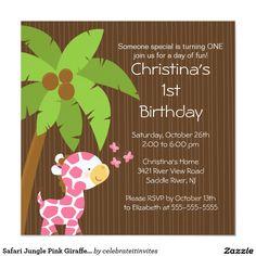Safari Jungle Pink Giraffe Kid Birthday Party 5.25x5.25 Square Paper Invitation Card