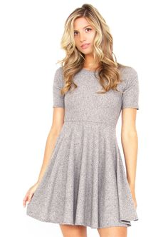 Super comfy and cute grey ribbed knit skater dress. Exposed zipper closure on back. #Fashion #Dresses #OnlineShopping #FreeShipping