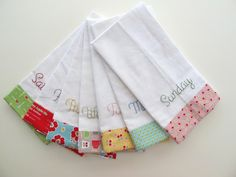 Cute idea for kitchen towels. Maybe not the days of the week, but the borders look fun and easy to do.