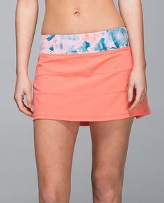We made this breezy skirt so we can go from the trails to the court without   slowing down. We added built-in shorts that are stretchy and sweat-wicking so   that we can move, sprint and twist to our heart's content. We may have met our   match!